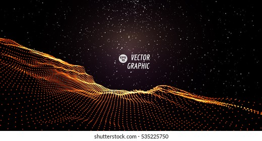 Abstract digital landscape with flowing particles and stars on horizon. Cyber or technology background.Vector illustration