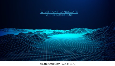 Abstract digital landscape with particles dots and stars on horizon. Wireframe landscape background. Big Data. 3d futuristic vector illustration. 80s Retro Sci-Fi Background