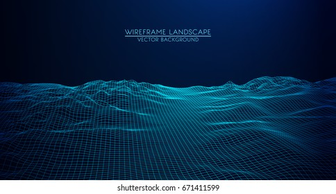 Abstract digital landscape with particles dots and stars on horizon. Wireframe landscape background. Big Data. 3d futuristic vector illustration