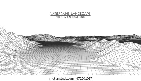 Abstract digital landscape with particles dots and stars on horizon. Wire frame landscape background. Big Data. 3d futuristic vector illustration
