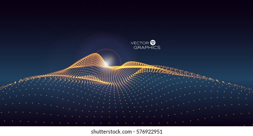 Abstract digital landscape with rising sun on horizon. Technology vector illustration background.