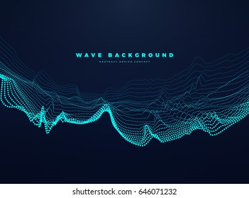 Abstract digital landscape with wave particles