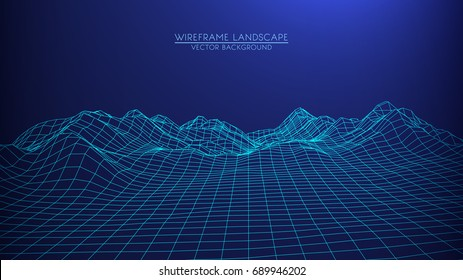 Abstract digital landscape.  Wireframe landscape background. Big Data. 3d futuristic vector illustration. 80s Retro Sci-Fi Background