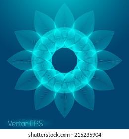 Abstract digital line art floral pattern. Element for design.