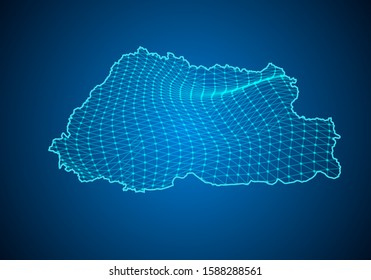 Abstract digital map of bhutan with particles dots and line. polygonal network business. Wireframe landscape background. Big Data. 3d futuristic. Global network connection.