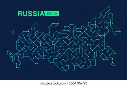 Abstract digital map of Russia. Electric circuit of the country. Techonology background. Vector illustration.