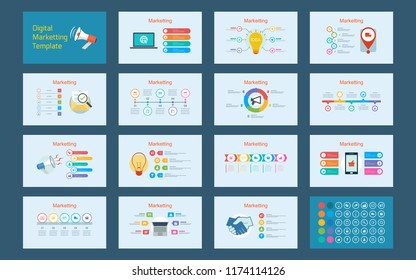 Abstract Digital marketing infographics presentation template with timeline diagrams set in blue color background