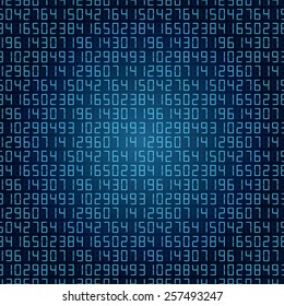 abstract digital numbers background blue. vector eps10