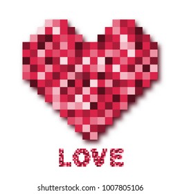Abstract Digital pixel mosaic pink heart on white background for Valentine concept idea