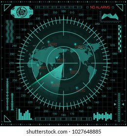 Abstract digital radar screen with world map, targets and futuristic user interface of green shades