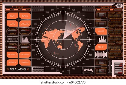 Abstract digital radar screen with world map, targets and futuristic user interface of orange, white, red and yellow shades on dark background