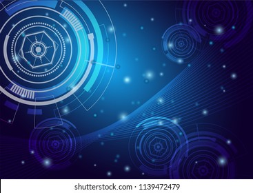 Abstract digital screen, Scientific futuristic interface. with square, line, circle and dots. futuristic interface technology. Vector illustration on blue gradient technology background.