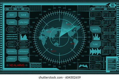 Abstract digital teal radar screen with world map, targets and futuristic user interface on dark background.