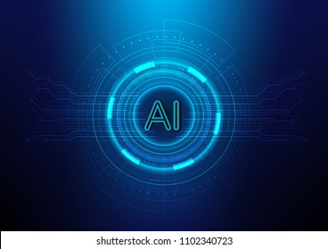 Abstract digital and technology background. AI(Artificial Intelligence) wording with the circuit design.