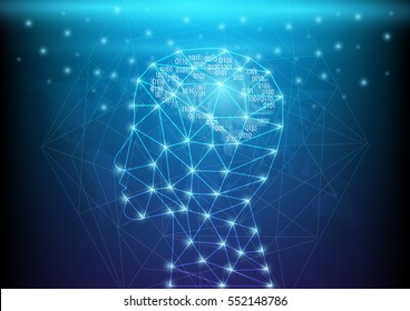 Abstract digital and technology background. Artificial Intelligence with neural deep learning network.