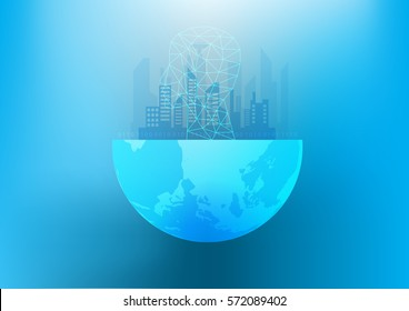 Abstract digital and technology background. Artificial Intelligence with real estate that can used to present industry 4.0. Vector illustration.