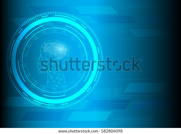 Abstract digital and technology background. Artificial Intelligence with futuristic transferring information.