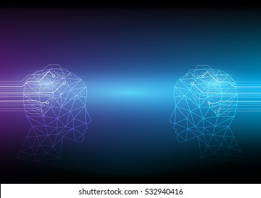 Abstract digital and technology background. The communication between two sides of the Artificial Intelligence.