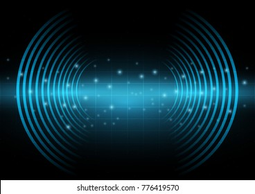 Abstract digital and technology background. Sound waves oscillating with the dark blue light.