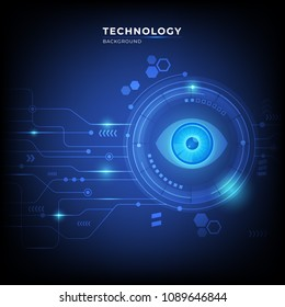 Abstract digital technology communication concept background with eye. vector illustration.