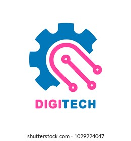 Abstract digital technology design - vector logo template concept illustration. Smart and digital technology creative sign. Design element. Technology Logo template.