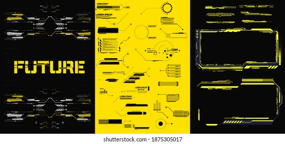 Abstract digital technology UI, UX Futuristic HUD, FUI, Virtual Interface. Callouts titles and frame in Sci- Fi style. Bar labels, info call box bars. Futuristic info boxes layout templates. - Shutterstock ID 1875305017