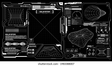 Abstract digital technology UI, UX Futuristic HUD, FUI, Virtual Interface. Callouts titles and frame in Sci- Fi style. Bar labels, info call box bars. Futuristic info boxes layout templates. 3D vector
