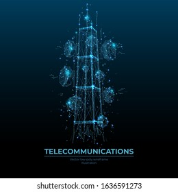 Abstract digital telecommunication tower with antennas as low poly wireframe. Technology 3D polygonal vector illustration on blue background. Polygons, lines, particles, triangles and connected dots.