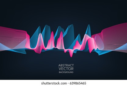Abstract digital wave. Cyber or technology background.Vector illustration.