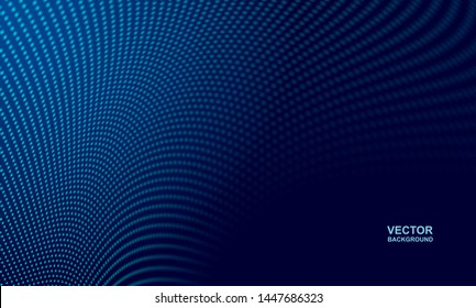 Abstract. Digital wavy doted dark blue background. Technology concept. vector.