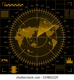Abstract digital yellow radar screen with world map, targets and futuristic user interface on black background.
