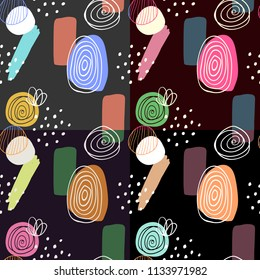 Abstract digitally hand drawn seamless pattern in simply beautiful scandinavian style. Set of 4 wallpapers. Colorful ornaments on dark background. Pattern for fabric and textile designs.