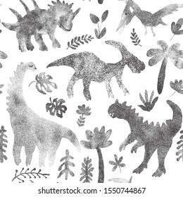 Abstract dinosaur for fabric design. Polka dots elements. Animal background with floral elements. Fabric wallpaper print texture. Cute dino design.