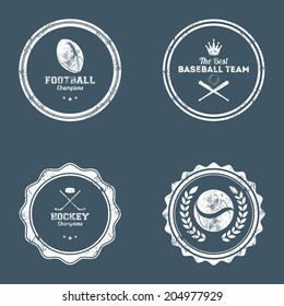 abstract dirty sports labels on a dark blue background