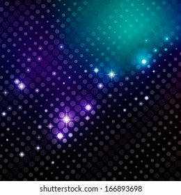 Abstract disco party background with dot pattern and flashes
