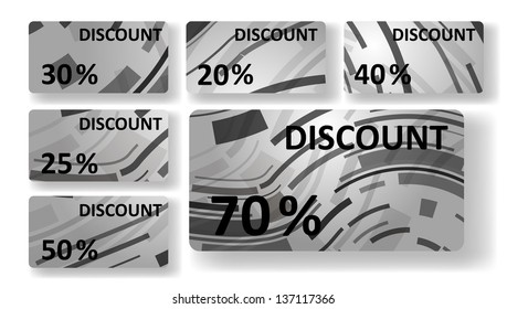 Abstract discount cards, colorful digital Illustration.
