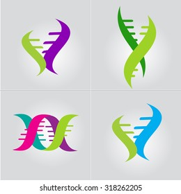 Abstract DNA Spiral Molecule business sign. Modern technology, biotechnology, medical science icon. Business corporate identity element. Vector graphics for infinity of progress concept. Editable.