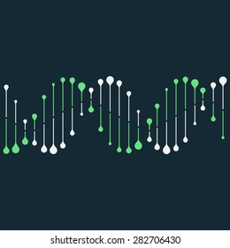 Abstract DNA strand symbol. Isolated on black background. Vector illustration, eps 8.