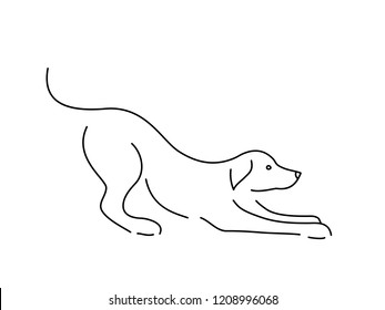 Abstract dog. Continuous line drawing