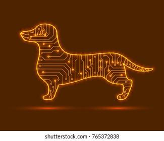 Abstract dog. Electronic technology. Vector dog. Electronic dog