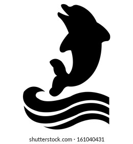 abstract dolphin silhouette and two black waves on white background