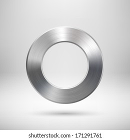 Abstract donut, ring badge, blank button template with metal texture (chrome, silver, steel), realistic shadow and light background for user interfaces, UI, applications and apps. Vector illustration.