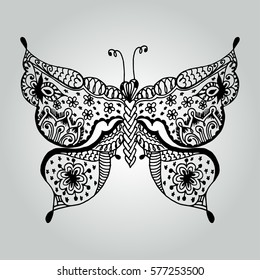 Abstract doodle butterfly. Wildlife collection. Vector illustration