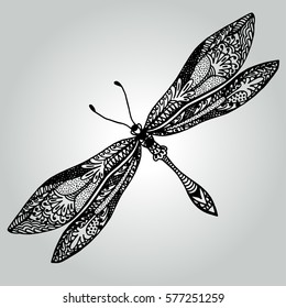 Abstract doodle Dragonfly. Wildlife collection. Vector illustration