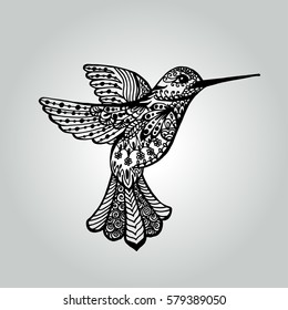 Abstract doodle humming-bird. Wildlife collection. Vector illustration