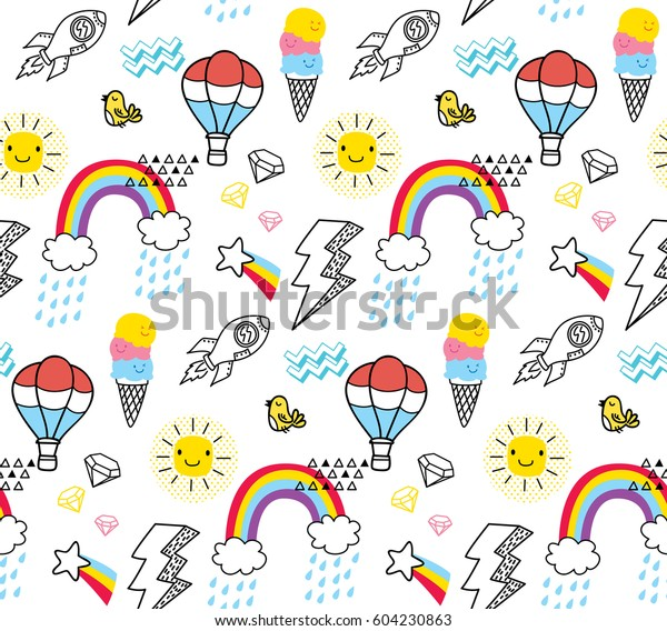 Abstract Doodle Pattern Rainbow Lightning Bolt Stock Vector