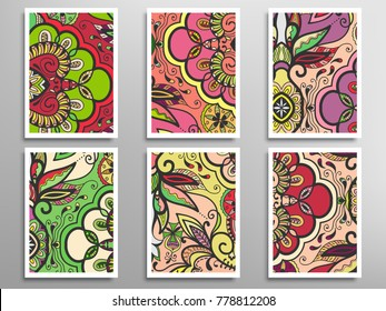 Abstract doodle patterns set for card, invitation, cover, banner. Hand drawn asymmetric texture, decorative ornament. Patchwork quilt vintage elements. Colorful artistic background