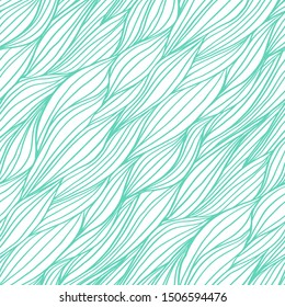 Abstract doodle seamless pattern with wavy lines. Outline mint colored braids. Fabric hand drawn ornament