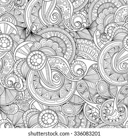 Abstract doodle seamless pattern. Zentangle style wavy background.