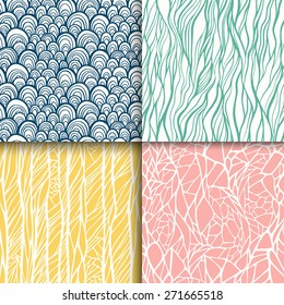 Abstract doodle seamless patterns set. Vector illustration